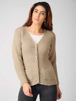 Beige Hand-knitted Woolen Cardigan