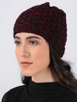 Red-Black Hand Knitted Wool Cap