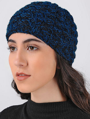 Blue-Black Hand Knitted Wool Cap