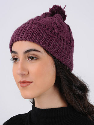 Purple Hand Knitted Wool Cap