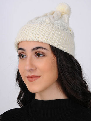 Ivory Hand Knitted Wool Cap