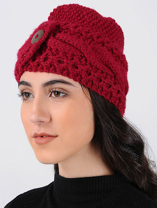 Red Hand Knitted Wool Cap