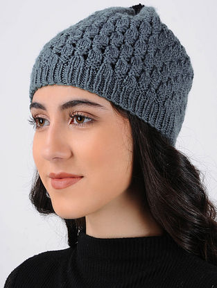 Grey Hand Knitted Wool Cap
