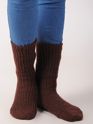 Brown Hand Knitted Wool Ankle Socks (Set of 2)