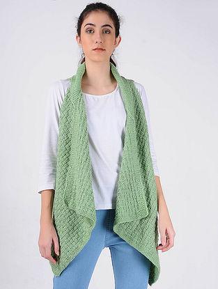 Green Hand Knitted Wool Shrug