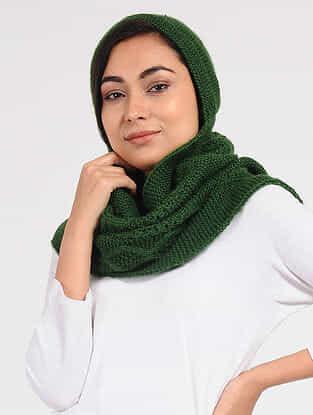 Green Wool Hood Cap