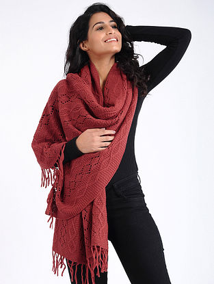 Red Hand Knitted Wool Stole