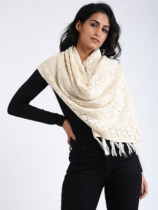 Ivory Hand Knitted Wool Stole