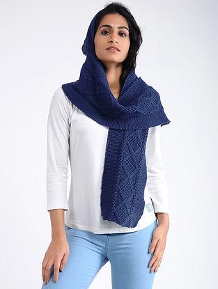 Blue Hand Knitted Wool Hood Cap