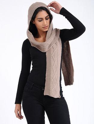 Beige Hand Knitted Wool Hood Cap