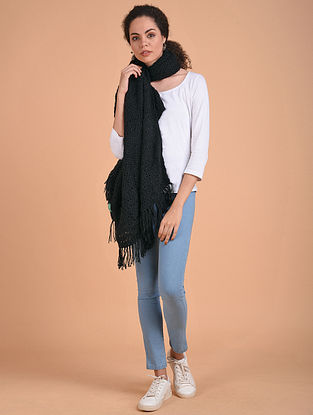 Black Hand Knitted Wool Stole