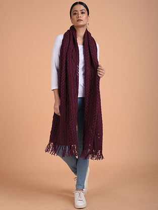 Purple Hand Knitted Wool Stole
