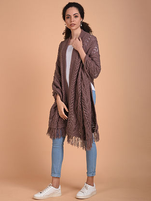 Mauve Hand Knitted Wool Stole