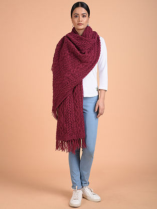 Pink Hand Knitted Wool Stole