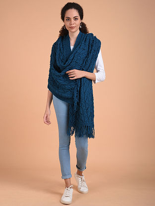 Blue Hand Knitted Wool Stole