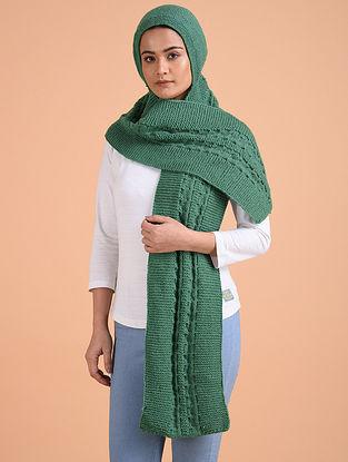 Green Hand Knitted Wool Hood Cap