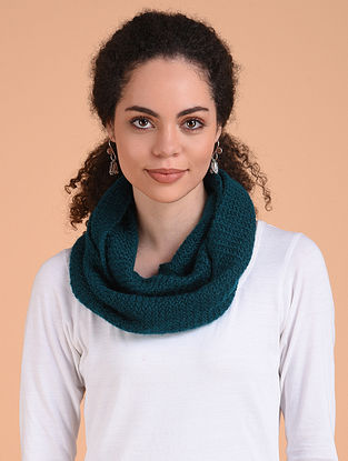 Blue Hand Knitted Wool Cowl