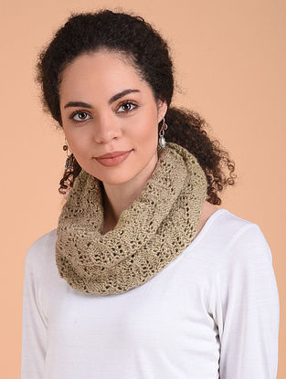 Beige Hand Knitted Wool Cowl