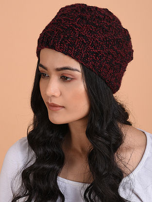 Maroon-Black Hand Knitted Wool Cap