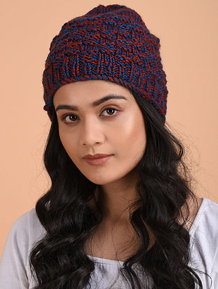 Blue-Red Hand Knitted Wool Cap