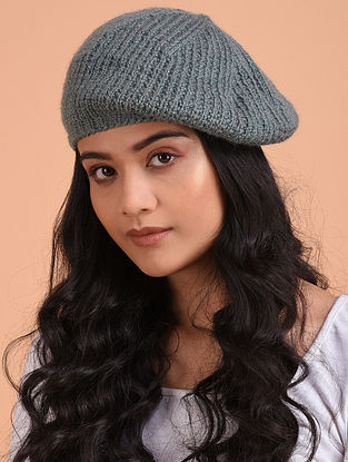 Grey Hand Knitted Wool Beret