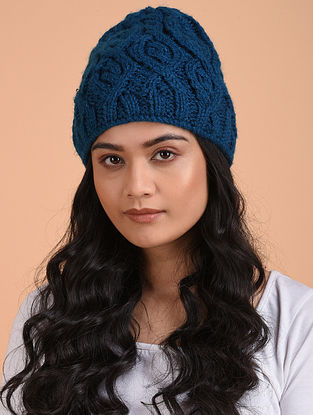 Blue Hand Knitted Wool Beret