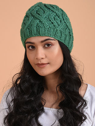 Green Hand Knitted Wool Beret