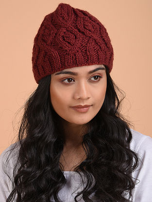 Red Hand Knitted Wool Beret