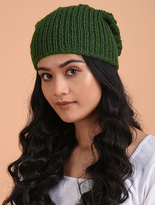 Green Hand Knitted Wool Cap