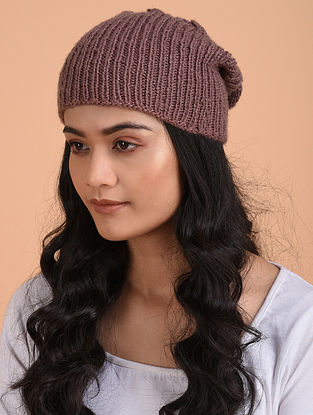 Mauve Hand Knitted Wool Cap