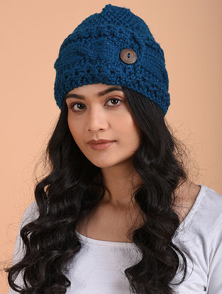 Blue Hand Knitted Wool Cap
