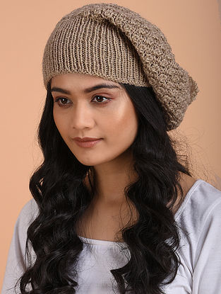 Beige Hand Knitted Wool Cap
