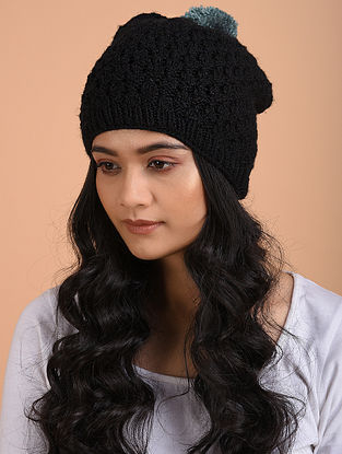 Black Hand Knitted Wool Cap