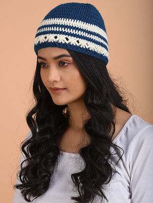 Blue-Ivory Hand Knitted Wool Cap