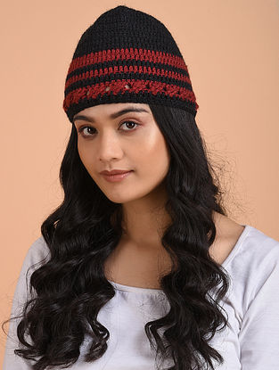 Black-Red Hand Knitted Wool Cap