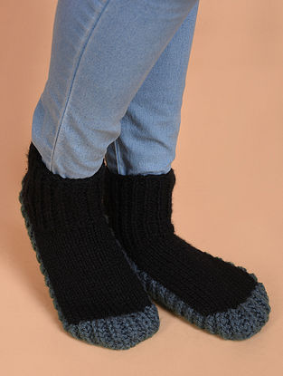 Black-Grey Hand Knitted Wool Shoes