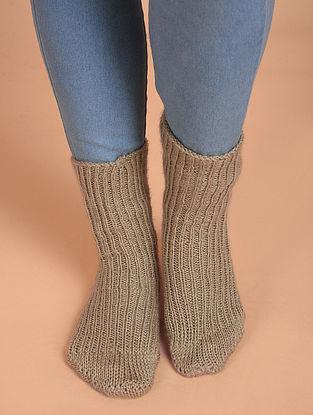 Beige Hand Knitted Wool Socks