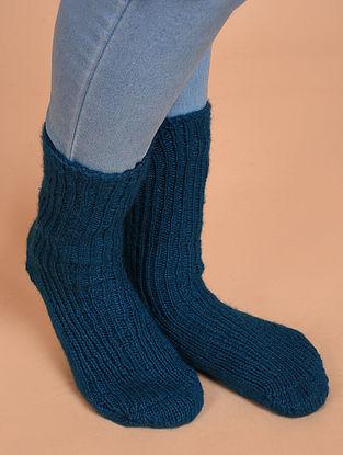 Blue Hand Knitted Wool Socks