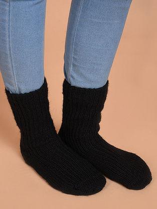 Black Hand Knitted Wool Socks