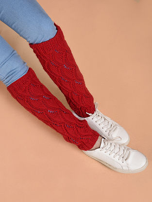 Red Hand Knitted Wool Leg Warmer