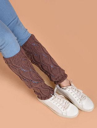 Mauve Hand Knitted Wool Leg Warmer