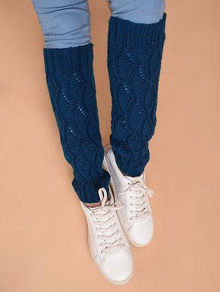 Blue Hand Knitted Wool Leg Warmer