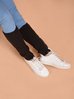 Maroon Hand Knitted Wool Leg Warmer