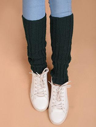 Green Hand Knitted Wool Leg Warmer