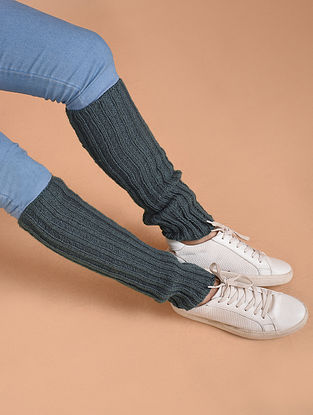 Grey Hand Knitted Wool Leg Warmer