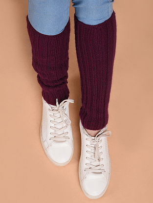 Violet Hand Knitted Wool Leg Warmer