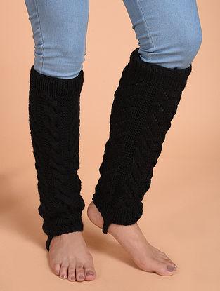 Black Hand Knitted Wool Leg Warmer