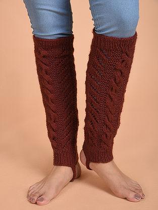 Rust Hand Knitted Wool Leg Warmer