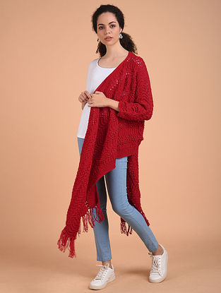 Red Hand Knitted Wool Cape