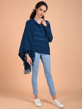 Blue Hand Knitted Wool Cape